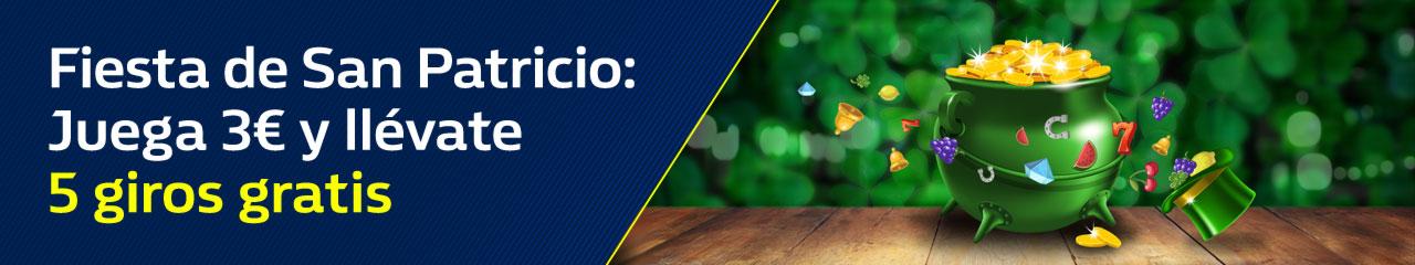 Tragaperras online Williamhill casino Juega 3€ y llévate 5 giros gratis por San Patricio