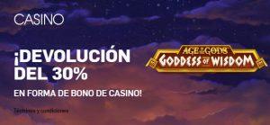 Betfair casino 30% devolución