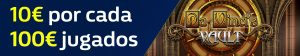 Williamhill 10€ por cada 100€ jugados en Da Vinci's Vault