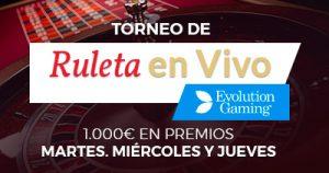 Paston Torneo de ruleta en vivo 1000€ en premios